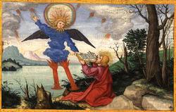 御使の手から巻物を受け取って食べるヨハネ
