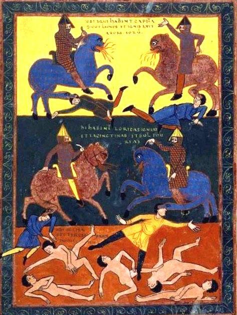 第六のラッパ、馬の蛇の尾が人々を襲う