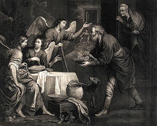アブラハムは食物を彼の3人の客に与える