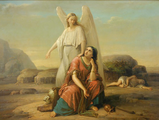 天使が荒野のハガルを救う