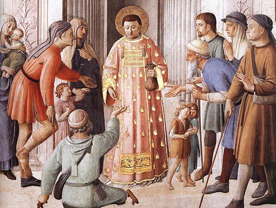 施しをする聖ラウレンティウス