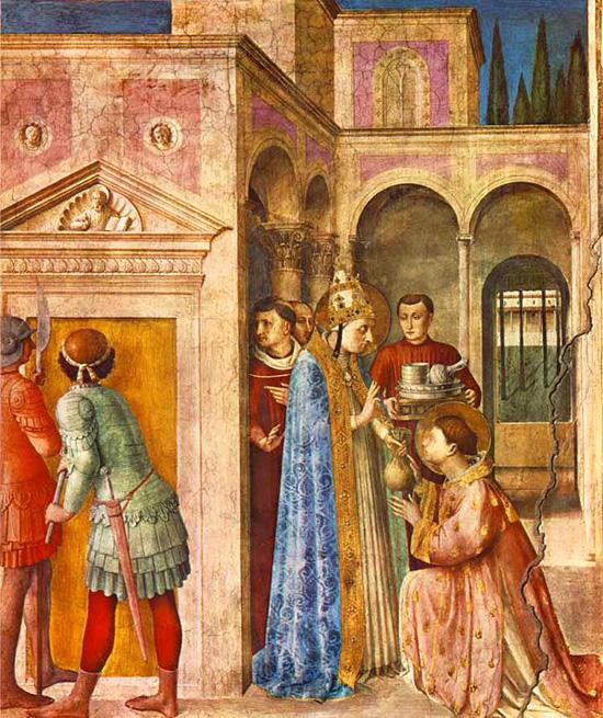 教会の宝物を受け取る聖ラウレンティウス
