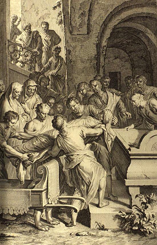 アブラハムを埋葬するイサクとイシュマエル