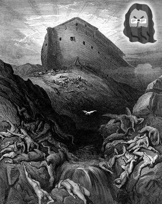 ノアの方舟からカラス、ハトを飛ばす