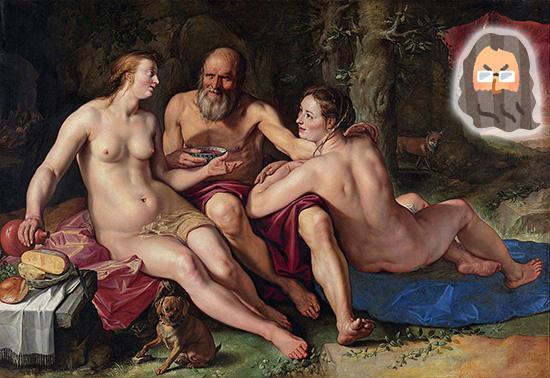 洞窟の中のロトと娘たち