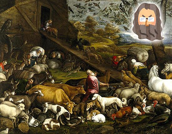 ノアの方舟に乗り込む動物たち