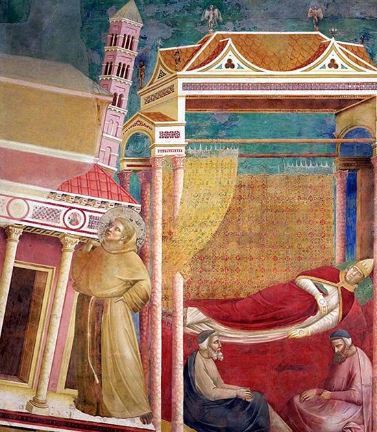 肩でラテラノ大聖堂を支えるフランチェスコ:ジョット