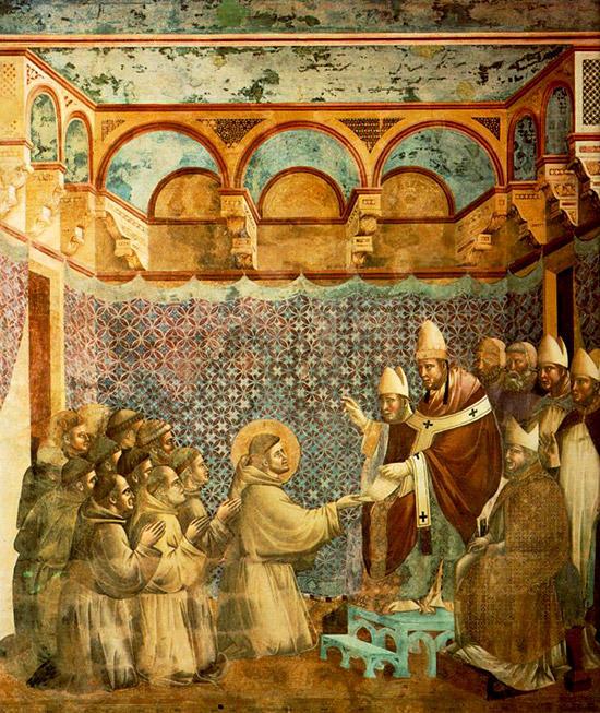 教皇インノケンティウス3世に謁見するフランチェスコの一行