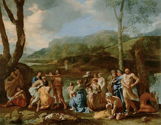 ヨルダン川で洗礼をしている洗礼者ヨハネ