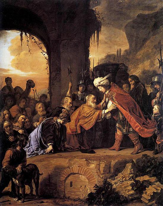エジプトにて父と兄弟を迎え入れるヨセフ