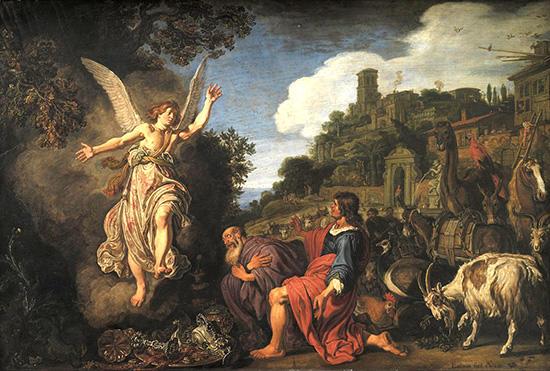 トビトとトビアスに別れを告げる天使ラファエル