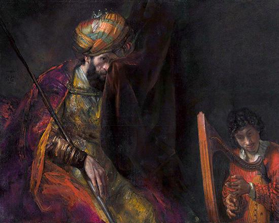 ダビデの弾く竪琴に聞き入るサウル