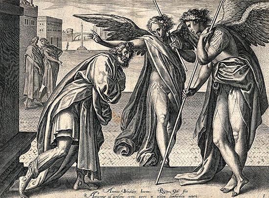 2人の天使がロとを訪問する